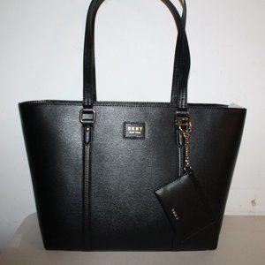 DKNY AMY TOTE BLACK LEATHER $178 SHOULDER BAG PURS